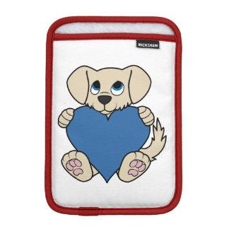 Valentine's Day Tan Puppy Dog with Blue Heart iPad Mini Sleeve