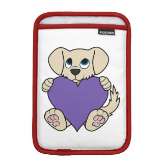 Valentine's Day Tan Puppy Dog with Purple Heart Sleeve For iPad Mini