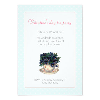 Valentines Day Tea Party Pink Blue Polka Dot Girly Card