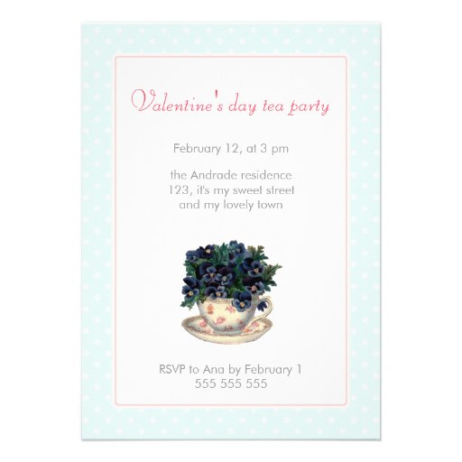 Valentines Day Tea Party Pink Blue Polka Dot Girly Cards