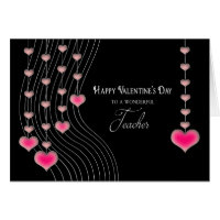 Valentine's Day - Teacher -Black/Pink Hearts Card