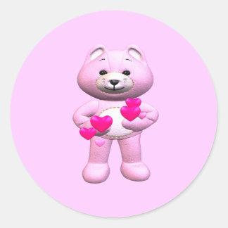 Valentine's Day Teddy Bear Round Stickers