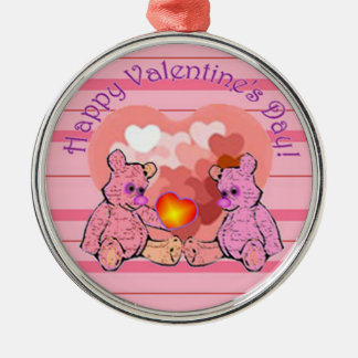 Valentines Day Teddy Bears Metal Ornament