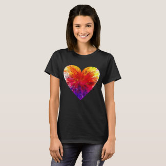 Valentines Day Tee Shirt - Coloured Rainbow Heart