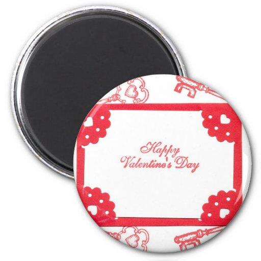 Valentine's Day Theme Hearts Keys Red White Art 2 Inch Round Magnet