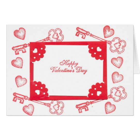 Valentine's Day Theme Hearts Keys Red White Art Card
