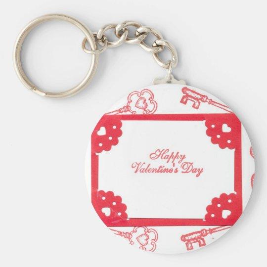 Valentine's Day Theme Hearts Keys Red White Art Keychain