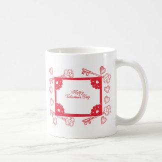 Valentine's Day Theme Hearts Keys Red White Art Mug