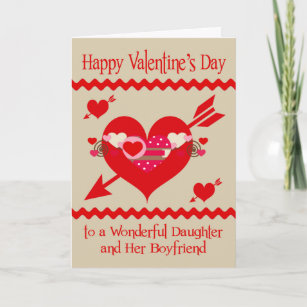 Valentines Day To Daughter And Boyfriend Holiday Card