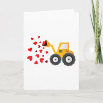 Valentine's Day Tractor Hearts Gift Kids Boys Holiday Card