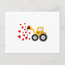 Valentine's Day Tractor Hearts Gift Kids Boys Holiday Postcard