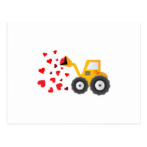 Valentine's Day Tractor Hearts Gift Kids Boys Postcard