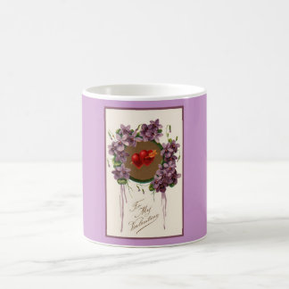 Valentine's Day Twin Hearts Floral Bouquet Mug