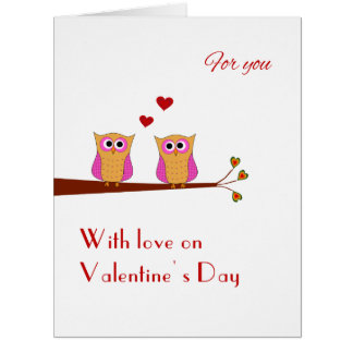 Valentine's Day two cute pink owls Card