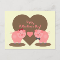 Valentine's Day - Two Pigs in Mud Puddles & Hearts Holiday Postcard