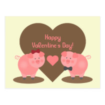 Valentine's Day - Two Pigs in Mud Puddles & Hearts Postcard