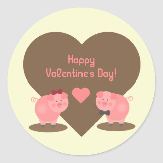 Valentine's Day - Two pigs in Mud with Hearts Classic Round Sticker
