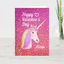 Valentines Day Unicorn Pink Glitter Personalized Holiday Card