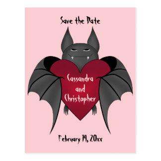 Valentine's day vampire bat save the date wedding postcard