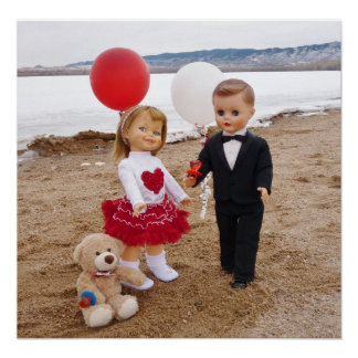 Valentine's day vintage dolls- for girl's room posters