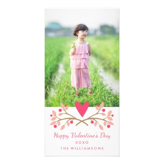 Valentine's Day Vintage Heart & Berries Photo Card