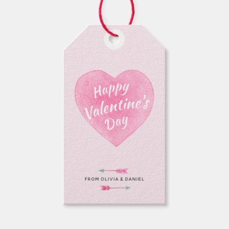 Valentine's Day Watercolor Heart Gift Tag