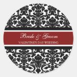 Valentine's Day Wedding Bride Groom Envelope Seals Classic Round Sticker