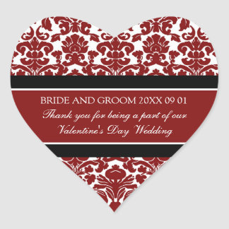 Valentine's Day Wedding Favor Tags Red Damask