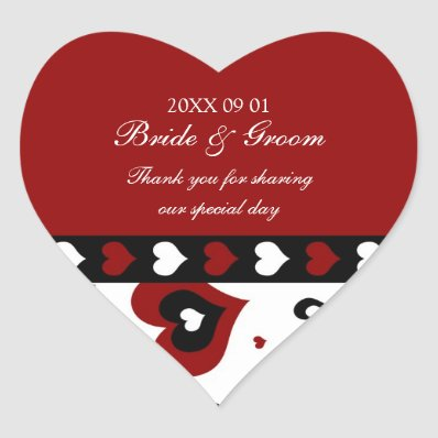 Valentine's Day Wedding Favor Tags Red Hearts Stickers