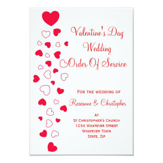 Valentines Day Wedding Order Of Service Invitation