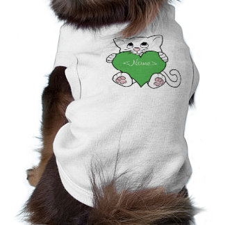 Valentine's Day White Cat with Green Heart Tee