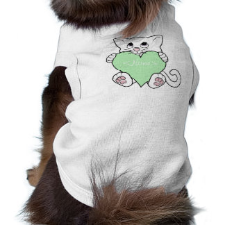 Valentine's Day White Cat with Light Green Heart Shirt