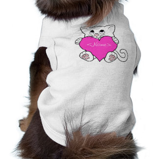 Valentine's Day White Cat with Pink Heart Tee