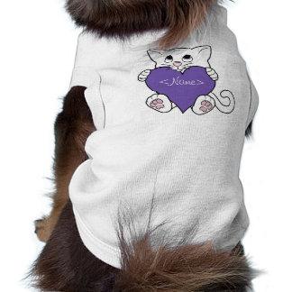 Valentine's Day White Cat with Purple Heart Shirt