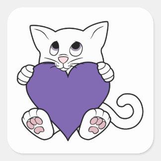Valentine's Day White Cat with Purple Heart Square Sticker