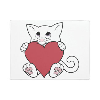 Valentine's Day White Cat with Red Heart Doormat