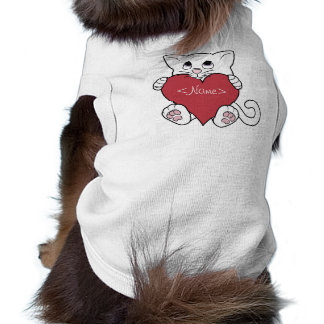 Valentine's Day White Cat with Red Heart T-Shirt