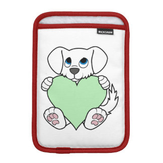 Valentine's Day White Dog with Light Green Heart Sleeve For iPad Mini