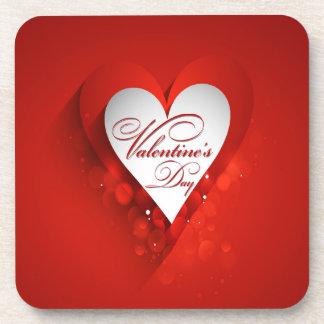 Valentine's Day White Heart Coaster