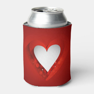 Valentine's Day White Heart - Customize Can Cooler