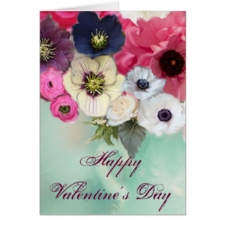 VALENTINE'S DAY WHITE PINK ROSES, ANEMONE FLOWERS CARD