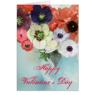 VALENTINE'S DAY WHITE RED ROSES, ANEMONE FLOWERS CARD