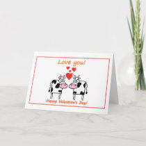 Valentine's Day with cows in love with hearts Card