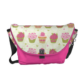 Valentine's Day with hearts and cupcakes Messenger Bags