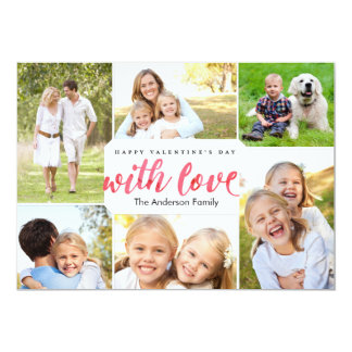 Valentine's Day with Love Gold 5x7 Paper Invitation Card
