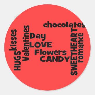 Valentines Day Word Art Classic Round Sticker