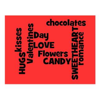 Valentines Day Word Art Postcard