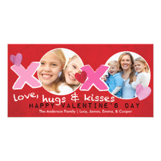 Valentine's Day XOXO Photo Circles Holese Red Card