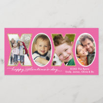 Valentine's Day XOXO Photo Hole Collage Pink Holiday Card