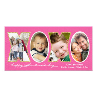 Valentine's Day XOXO Photo Hole Collage Pink Personalized Photo Card